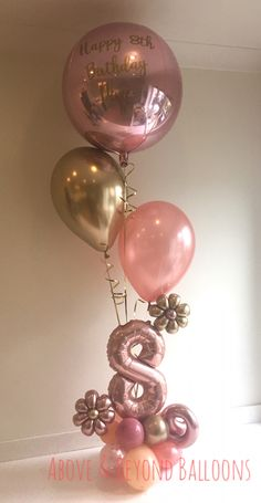 18th Birthday Party, Gold Birthday, Birthday Balloons, Diy Birthday, Balloon Arrangements, Balloon Centerpieces, Balloon Decorations Party, Small Balloons, Rose Gold Balloons
