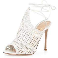 Gianvito Rossi Leather Woven Net Sandal (€1.255) ❤ liked on Polyvore featuring shoes, sandals, off white, leather ankle strap sandals, braided leather sandals, high heel sandals, woven leather sandals and braided ankle-wrap sandal