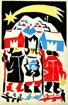 Christmas and winter time by famous Slovak artist - Ernest Zmetak - Epiphany (1966) kultura.sme.sk