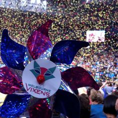 Whirly promotional Windmill @ Vixens Grand Final Hisence Arena Melbourne #whirlywindmills #vixens #pinwheels #colour #netball #celebration #decoration #arena #event #promotional