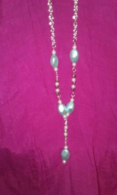 Baby blue, pearl, silver hearts necklace