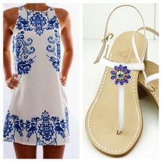 Intramontabile bianco e blu per i tuoi outfit.  Dea Sandals  Capri Style. Classico caprese bianco con elemento unico swarovski. Shop at deasandals.com
