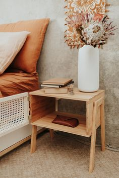 Upcycle and upgrade an inexpensive nightstand into a boho wicker rattan cane side table. Bedside Table Decor, Diy Nightstand, Side Tables Bedroom, Bed Side Table Diy, Boho Room, Boho Diy, Home And Deco, Diy Furniture, Wicker Furniture