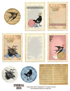 Ephemera's Vintage Garden: Weekly Free Printable: Ephemeral Birds ATC
