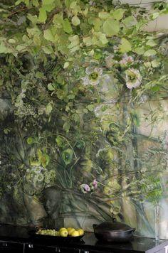 Art Vert, Estilo Interior, Interior Wallpaper, Green Art, Abstract Flowers, French Art, Large Flowers, Botanical Art, Beautiful Artwork