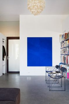 blue art in Zürich based  art collector's home
