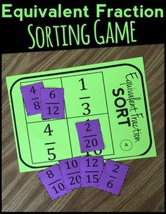 Equivalent Fractions Game (math centers): This equivalent fractions and fraction sorting activity is great as a whole group, partner, or individual activity. Aligned to Common Core State - The Number Diva 4th Grade Fractions, Fifth Grade Math, Equivalent Fractions, Fourth Grade, Simplifying Fractions, Teaching Fractions, Teaching Math, Dividing Fractions, Multiplying Fractions
