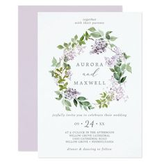 Rustic Lilac Wreath Wedding Invite with elegant purple watercolor lilac wildflowers and a boho country garden style. It's the perfect light lavender purple and green floral design for a romantic event. Click to customize with your personalized details today. Baby Shower Invites For Girl, Baby Shower Invitations, Purple Wedding, Floral Wedding, Lilac Wedding Invitations, Sprinkle Invitations, Lilac Flowers, Purple Lilac, Casual Wedding