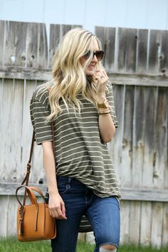S T R I P E S . I N . B L O O M: .stripes for days. nordstrom BP tee shirt, striped tee, casual style top, casual style, fashion blogger, modest style, crossbody bag, easy to wear, summer fashion, distressed denim, stripe mix, mixing prints, how to, style, fossil watch, oversized tee, tucking in an oversized tee shirt