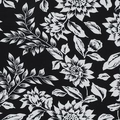Theory Black and White Sunflower Printed Cotton Shirting