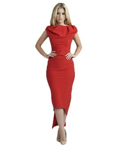 The Sian drape dress available here in red with a black and pink back zip fastening has a fishtail meaning that is longer at the back than it is at the front. Draped Dress, Fishtail, Leeds, Pink, Inspiration, Clothes, Black, Dresses, Women