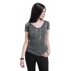 "Black Premium by EMP T-shirt, Dam ""Vintage Lace Shirt"" grå/svart • Sweden Rock Shop"