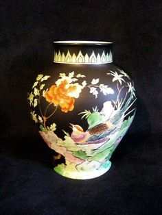 HAND PAINTED TUSCAN CHINA FAMILLE NOIR BALUSTER VASE◄◄◄ in Pottery, Porcelain & Glass, Porcelain/ China, Tuscan | eBay