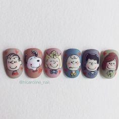 Cute Nail Art, Cute Nails, Pretty Nails, Snoopy Nails, Korea Nail, Self Nail, Korean Nail Art, Spring Nail Art, Japanese Nails