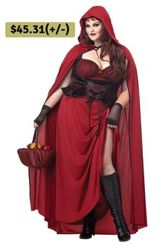 3c277c7aed Our Adult Ladies Plus Size Dark Red Riding Hood Costume comes complete with  the Red Dress with Lace Up Bodice and Cloak ...