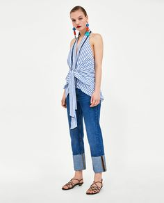 Image 1 of STRIPED HALTERNECK TOP from Zara