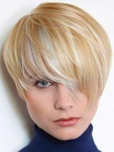 Cute Short Haircut with Long Bangs - Chic Hairstyles for Thin Hair