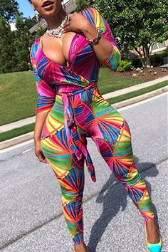 Euramerican Printed Skinny Multicolor One-piece Jumpsuit Thick Girl Fashion, Curvy Women Fashion, Curvy Girl Outfits, Sexy Outfits, Sexy Ebony Girls, Bikini Poses, Sexy Curves, Beautiful Black Women, Swagg