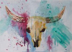 Cow skull watercolor. Bull skull painting by CecileRancourtArt