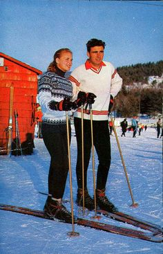 Penny Pitou and Egon Zimmerman, who ran the ski shool at Gunstock in the 1960's