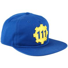 Hot Topic Fallout Vault 111 Gear Logo Snapback Hat ($8.39) ❤ liked on Polyvore featuring accessories, hats, multi, blue snapback, logo hats, blue hat, snap back hats and snapback hats