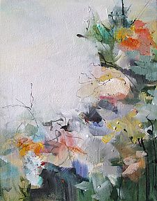 "Floral 2 by Karen  Hale (Acrylic Painting) (10"" x 8"")"