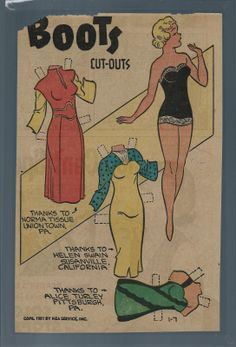 1-7-51 Boots paper doll / eBay