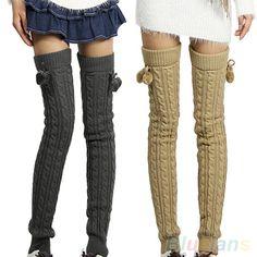 Feminina inverno Crochet de malha meia Footless perna aquecedores de botas meias elevadas da coxa 1RCP(China (Mainland))