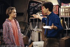 Former glory: Cameron shot to fame playing Mike Seaver on the popular show Growing Pains (above with Leonardo DiCaprio)