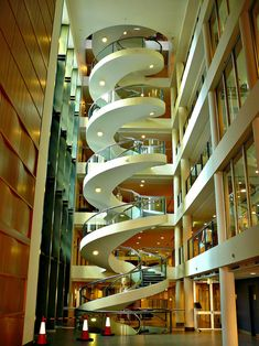 Amazing Spiral Staircase at Garvan Institute in Sydney. This amazing spiral staircase is located at the Garvan Institute in Sydney, Australia. It is five stories high and makes your head spin about revolutions. Stairs And Staircase, Take The Stairs, Grand Staircase, Staircase Design, Spiral Staircases, Craftsman Staircase, White Staircase, Floating Staircase, Modern Staircase