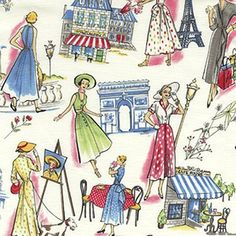 The Springtime in Paris Multi fabric by Michael Miller is so beautifully  illustrated. Chic Parisian women strolling past the Eiffel Tower adorn  this wonderful 100% cotton fabric