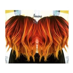 Purple roots to red orange and neon yellow flame /sunset Balayage hair... ❤ liked on Polyvore featuring accessories, hair accessories and purple hair accessories
