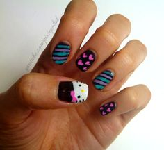 hello kitty nail art. this actually looks kind of easy