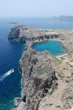 St Paul's Bay, Lindos, Rhodes Island, Greece.