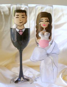 Love this! So cute! Personalized 3D boob bridesmaid champagne flutes by Glass Bellas