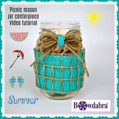 Picnic mason jar centerpiece how to craft video