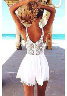White Patchwork Lace Sleeveless Linen Cotton Mini Dress