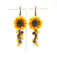 Yellow-white plastic sunflower sunflowers Clip Earrings Earrings 3.5 x 3 cm