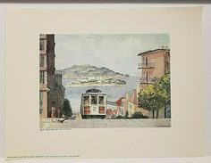 "HYDE STREET CABLE CAR Floyd Hildebrand Print SAN FRANCISCO 11.5 x 15"" 1970 #ContemporaryArt Vintage World Maps, Print, Artwork Display, San Francisco Artwork, Painting, San Francisco Art, Floyd, Art, Contemporary Art"