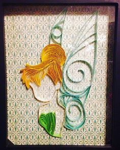 Just finished up a #tinkerbell #quilling #paper #art #disney #fairy #pixie #peterpan #neverland #pixiehollow