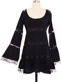 Black Belle Lace Tunic Dress at PLASTICLAND