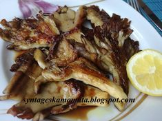Ψητά μανιτάρια πλευρώτους Mushroom Recipes, French Toast, Stuffed Mushrooms, Pork, Cooking Recipes, Food And Drink, Dishes, Meat, Vegetables