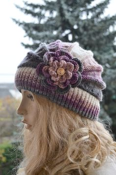 I accept payments through Etsy Payments OR PAYPAL (through etsy payments) ! Ladies Hats , Womens Hats , Spring Hat , knitted cap in flower, Big flower, autumn accessories, women clothing, Knit Hat Womens, beanie Knitted with 100% acrylic colour: purple,gray Measurements: Head circumference: 55-60cm[21.5-22,5] as its very elastic. Length: 20cm [ 8 ] If you wish, i can make it for order in any of shown colors and for any measurements. Available in sizes: S - 19.5 - 21.3 inches (50 - 54 cm...