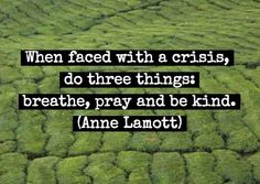 When faced with a crisis, do three things: breathe, pray and be kind. -Anne Lamott Quote #quote #health #wellness
