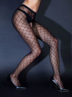 Netzstrumpfhose ouvert mit Netzmuster und offenem Intimbereich Stockings, Fashion, Open Set, Tights, Patterns, Black, Hosiery, Moda, Pantyhose Legs