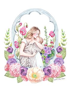 Mother and Child with Flowers Watercolor  Print of por ladypoppins