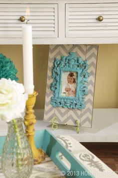 Let little bits of chevron peak through while still giving your room a completed look.