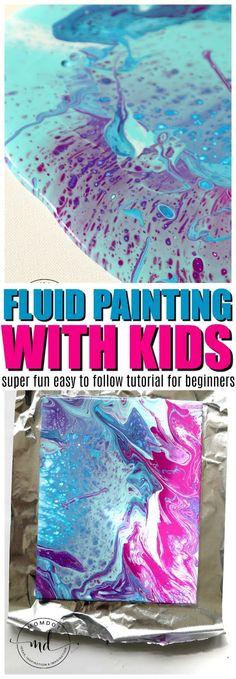 how to fluid paint with kids | Fluid Painting Tutorial | Acrylic Fluid Painting DIY