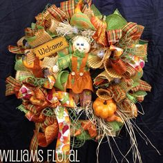 Fall Mesh Wreath f6 by WilliamsFloral on Etsy, $95.00