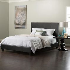 The Huntington padded bed is covered in a faux black leather cover with contrast stitching for an elegant look. The faux leather queen bed features a Euro-slat system, which provides independent support with no sag or roll-together.This black faux leather bed is available in Queen and Cal King.